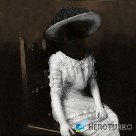 Шаблон для фото - Портрет в старинном белом платье