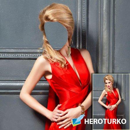 Шаблон для фотошопа - В красивом красном вечернем платье