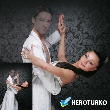 PSD шаблон для мужчин - В танце с девушкой