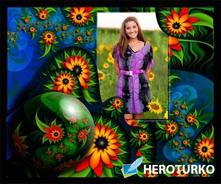 Фоторамка psd - Яркие цветы
