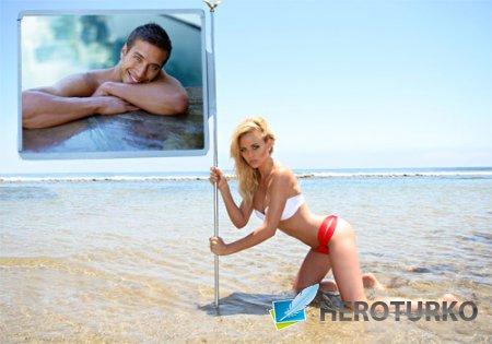 Рамка psd - Красивая блондинка с вашей фотографией