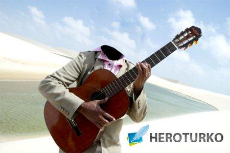 Шаблон для мужчин - Гитарист в пустыне