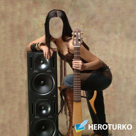 Шаблон для фото - Девушка с гитарой