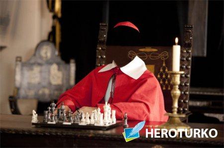 Шаблон для фотошопа - Кардинал в красном одеянии