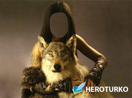 Шаблон для фото - С хищным волком