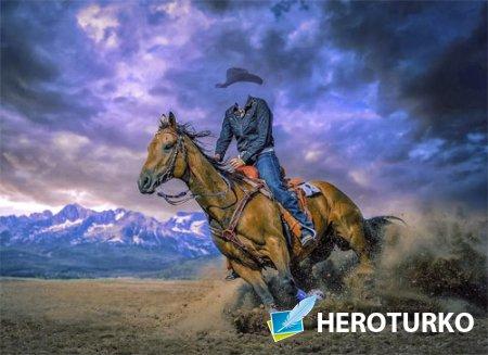 Шаблон для фото - Наездница на игривой лошади