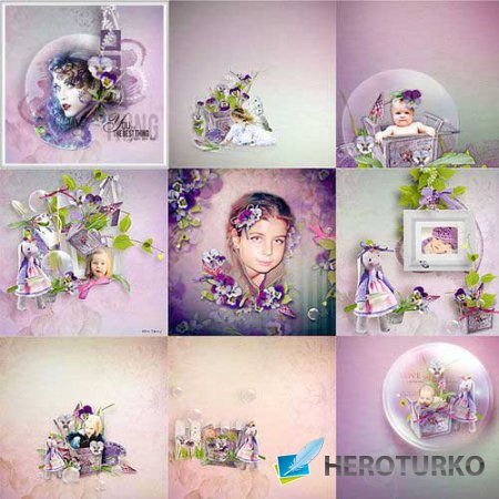 Цветочный скрап-комплект - Анютины глазки