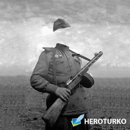 PSD шаблон для мужчин - Солдат с автоматом в 40-е годы