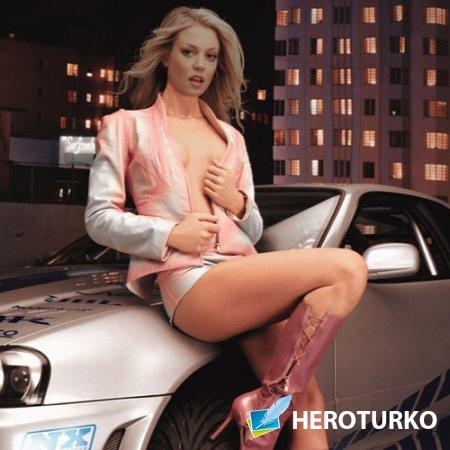 PSD шаблон для девушек - Стройная девушка возле авто