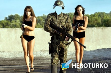 Шаблон psd - Солдат с автоматом и с двумя девушками