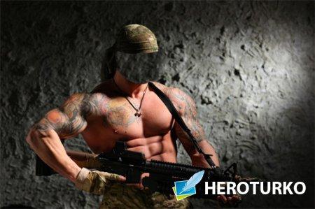 Шаблон для фотомонтажа - Сильный солдат с оружием