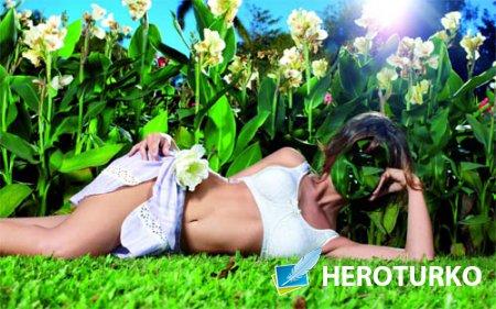 Шаблон для девушек - На цветущей поляне