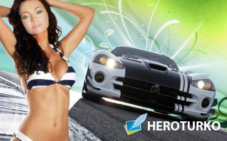 Шаблон psd - Стройна брюнетка в купальнике на фоне спортивной машины