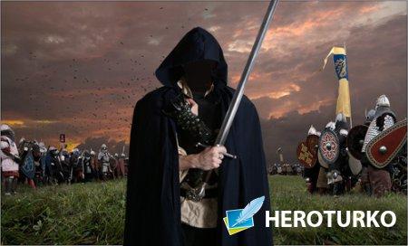 Шаблон psd - Темный воин с оружием