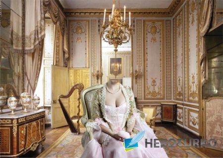 PSD шаблон для девушек - Барышня на кресле во дворце