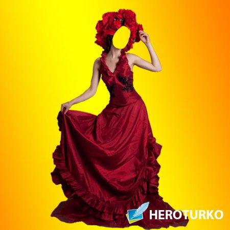 Шаблон для фото - Красное платье для девушек
