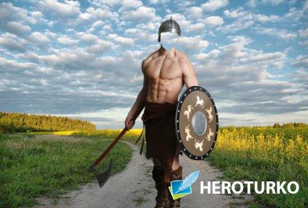 Мужской шаблон - Воин со щитом и топором