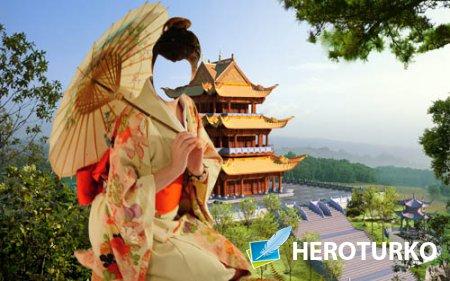 Шаблон для фотошопа - Девушка в костюме гейши