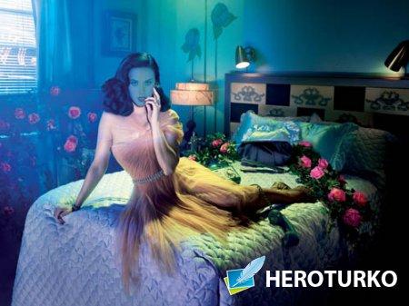 Шаблон женский - Фотосет в комнате на кровати