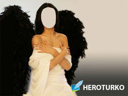 Шаблон для Photoshop - Ангел с темными крыльями