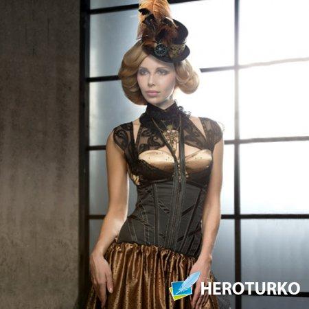Шаблон psd - Девушка в красивом платье и шляпке