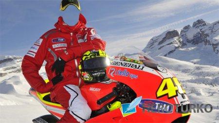 Шаблон psd - Горный отдых на снежном мотоцикле