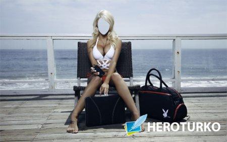 Шаблон для фотомонтажа - Девушка с playboy у моря