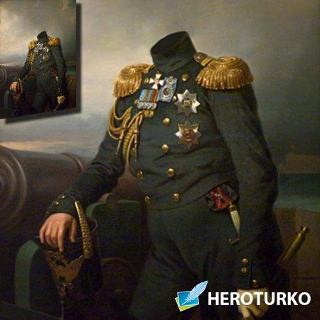 Главнокомандующий флота 19 века - Шаблон для фотомонтажа
