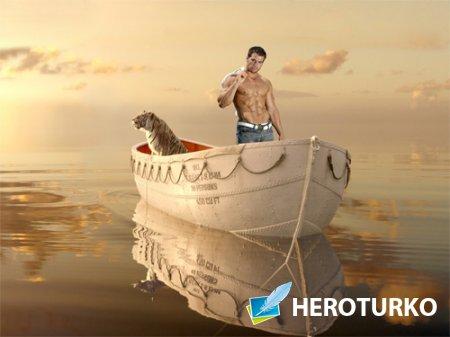 Шаблон для Photoshop - Плаванье с тигром