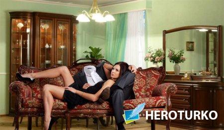 Шаблон psd мужской - Красивая девушка с вами на диване