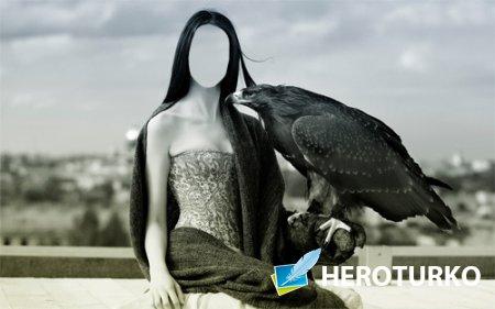 С орлом - Шаблон для фото