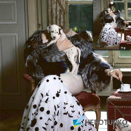 Шаблон для Photoshop - В образе Круэллы с собачками