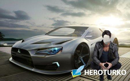 Шаблон для фотошопа - Возле спортивной Mitsubishi