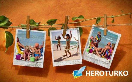 Рамка для фотошопа - Летние фото на прищепках