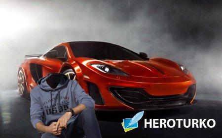 Шаблон psd мужской - Красное спортивное авто
