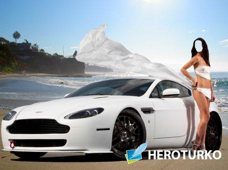 Шаблон для фотошопа  - Девушка возле Aston Martin