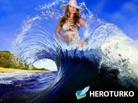 Рамка для фотошоп - На верху волны