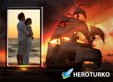 Фоторамка psd - Закат на море