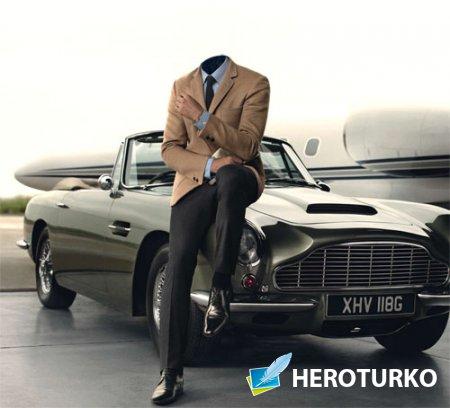 Шаблон для фотошопа - Мужчина на ретро авто