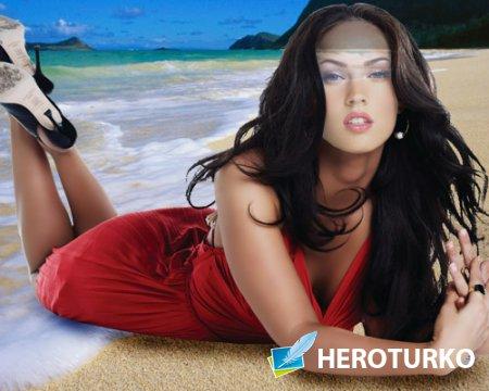 Женский шаблон - Девушка летом на пляже