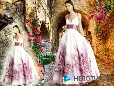 Шаблон для фотошопа - В шикарном вечернем платье с цветами
