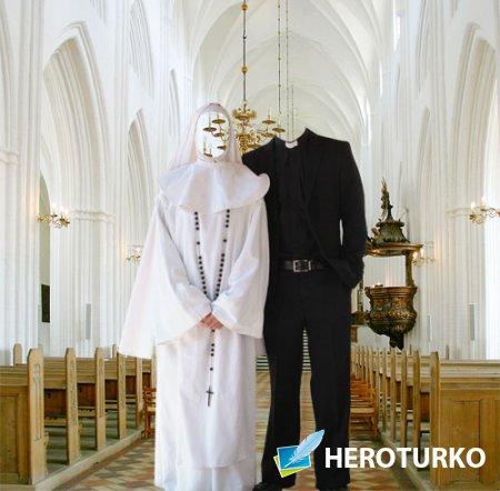 Шаблон для Photoshop - Служители в церкви
