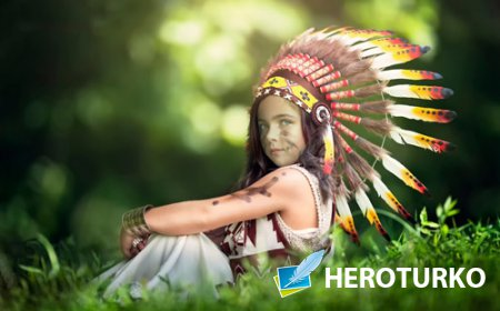 Детский шаблон - Смелая девочка индейка