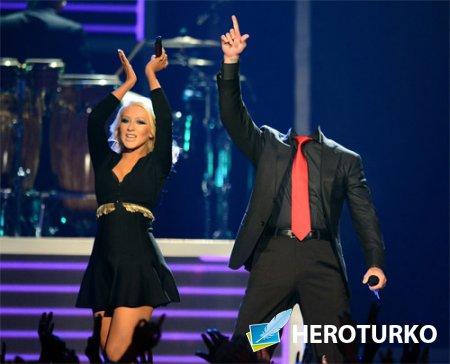 Шаблон для Photoshop - Поете с Christina Aguilera