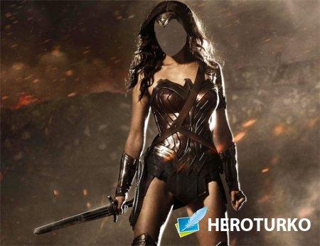 Шаблон psd женский - Девушка в доспехах с мечом
