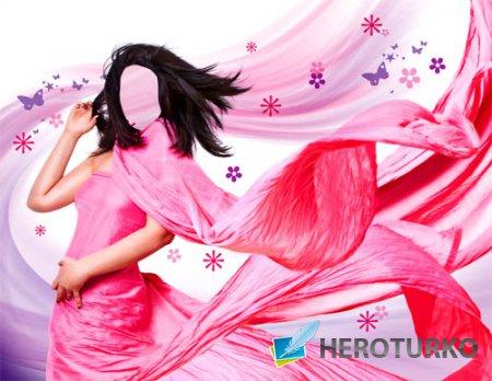 Шаблон для Photoshop - В ярком платье