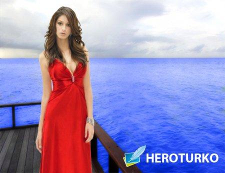 Шаблон для фотошопа - В красном вечернем платье