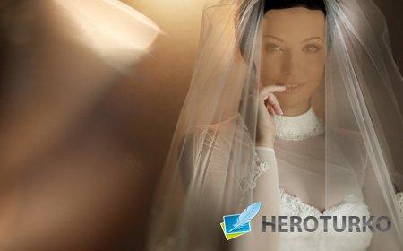 В свадебном платье - шаблон для фотошопа