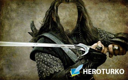 Воин и меч - Шаблон psd
