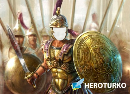 Photoshop шаблон - Воин с оружием в доспехах